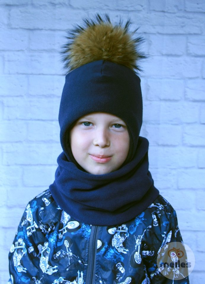 Комплект шапка+снуд navy с натуральным помпоном