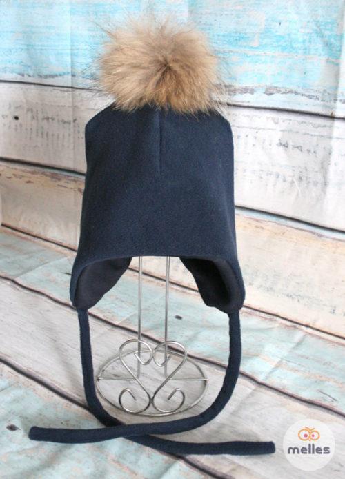 Шапка зимняя navy с натуральным помпоном