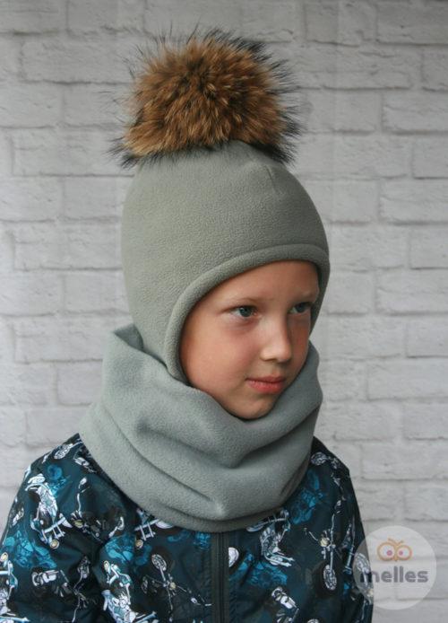 Комплект шапка+снуд серый с натуральным помпоном