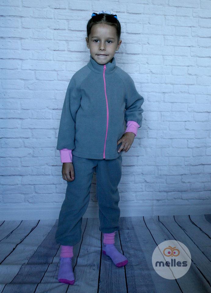 Костюм флисовый Серо-розовый